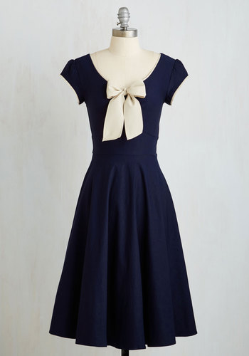 All That and Demure Dress in Navy $189.99 AT vintagedancer.com