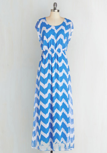 Maxi dress in blue and white mod retro vintage dresses modcloth