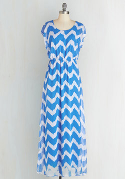 Miracle Maxi Dress in Blue and White