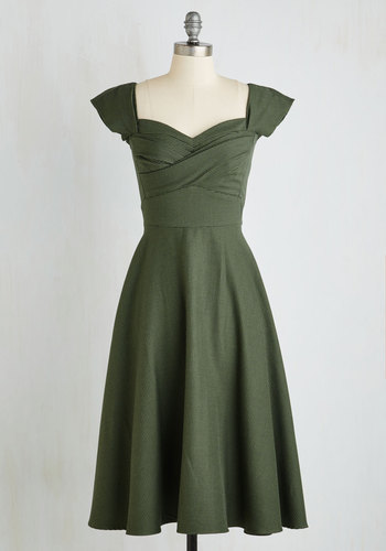 Pine All Mine Dress in Evergreen by Stop Staring! - Green, Black, Houndstooth, Vintage Inspired, 50s, Cap Sleeves, Exclusives, Sweetheart, Party, Fit & Flare, Pinup, Work, Scholastic/Collegiate, Long