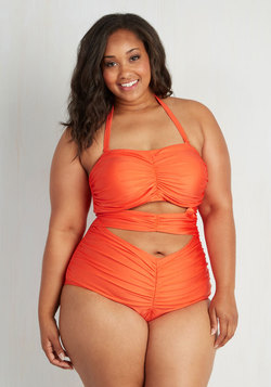 Feelin' Fierce One-Piece Swimsuit in Tangerine - Plus Size