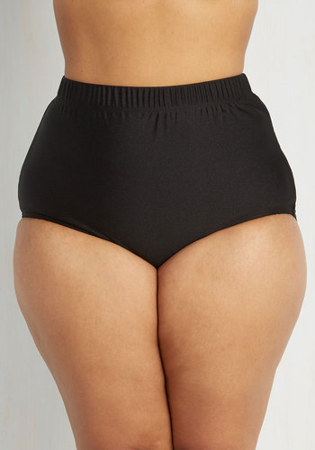 Seaside Serenity Swimsuit Bottom in Noir - Plus Size by Monif C - Black, Solid, Beach/Resort, High Waist, Summer, Variation