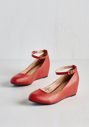 Take a Stride With Me Wedge in Red - Mid, Faux Leather, Red, Solid, Work, Minimal, Good, Wedge, Variation, Basic, Top Rated, Valentine's