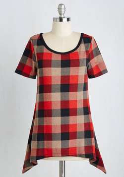 By and Lodge Top in Red Plaid