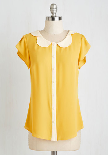 Teachers Petal Top in Yellow $44.99 AT vintagedancer.com