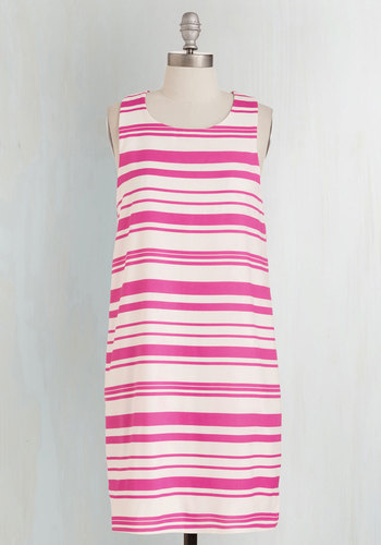 Fine and Candy Dress - Mid-length, Woven, Pink, White, Stripes, Print, Casual, Sundress, Shift, Sleeveless, Spring, Exposed zipper
