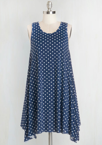 The Swingingest Spots Dress in Blue Dots - Blue, White, Polka Dots, Casual, Tent / Trapeze, Sleeveless, Knit, Good, Scoop, Short, Jersey, Social Placements, Americana, Top Rated