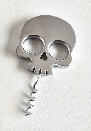 Macabre Heartthrob Corkscrew by Fred - Silver, Skulls, Good, Solid