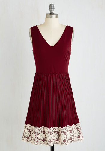 Personal Essayist Dress in Merlot - Red, White, Solid, Lace, Pleats, Trim, Wedding, Party, Bridesmaid, A-line, Sleeveless, Fall, Good, Variation, V Neck, Americana, Mid-length