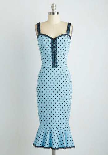 In the Groove Dress in Sky Blue Dots $84.99 AT vintagedancer.com