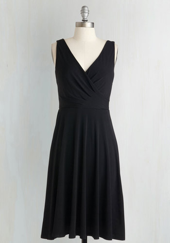 Cruise Your Destiny A-Line Dress - Knit, Black, Solid, Casual, A-line, Sleeveless, Work, LBD, V Neck, Top Rated