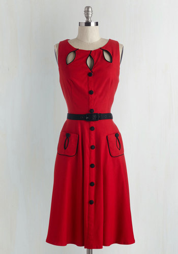 Swell-Heeled Dress in Ruby A-line $99.99 AT vintagedancer.com