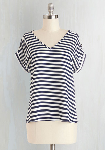 Pastry Picks Top in Stripes - V Neck, Blue, Short Sleeve, Sheer, Woven, Blue, White, Stripes, Casual, Nautical, Short Sleeves, Spring, Summer, Good