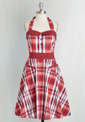 All About Rye Dress - Long, Cotton, Woven, Red, Plaid, Buttons, Pockets, Casual, Daytime Party, Vintage Inspired, 50s, Halter, Sweetheart, Fit & Flare
