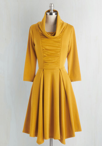 Storytelling Showstopper Dress in Goldenrod - 3/4 Sleeves - Knit, Yellow, Solid, Casual, 3/4 Sleeve, Exclusives, Variation, Pleats, Pockets, Cowl, Mid-length, Work, Steampunk, Best Seller, Fit & Flare, Spring, Fall, Winter, As You Wish Sale, Top Rated