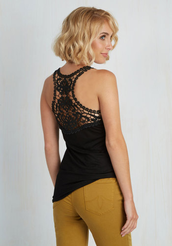 Poet to Be True Top in Black - Black, Solid, Casual, Racerback, Jersey, Sheer, Mid-length, Crochet, Scoop, Black, Sleeveless, Boho, Beach/Resort, Summer, Good, Top Rated