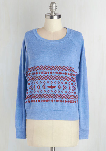 Collaborate with Comfort Top by MNKR - Blue, Red, Knitted, Casual, Long Sleeve, Winter, Short, Best Seller, 90s, Blue, Long Sleeve, Print, Novelty Print, Fall, Good, 4th of July Sale, Athletic