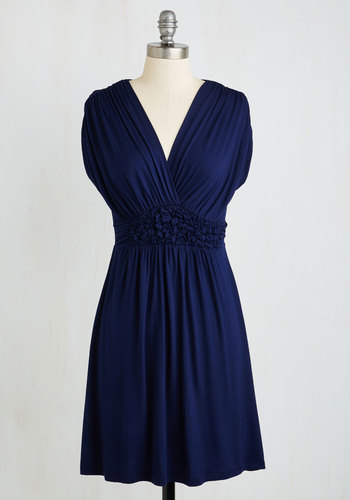 Easygoing Ending Dress - Blue, Solid, Ruching, Casual, A-line, Cap Sleeves, V Neck, Travel, Maternity, Mid-length