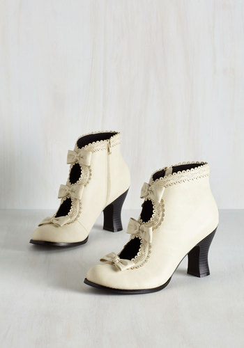 Powerful Protagonist Bootie in Ivory $59.99 AT vintagedancer.com
