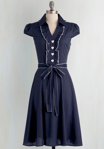 About the Artist Dress in Navy - Blue, Solid, Buttons, Ruffles, Cap Sleeves, Work, Vintage Inspired, Belted, Best Seller, Collared, Variation, Nautical, 50s, A-line, Woven, Full-Size Run, Gals, Long, Cotton, Shirt Dress, Top Rated