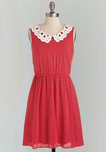 By My Countryside Dress - Mid-length, Woven, Red, White, Polka Dots, Print, Peter Pan Collar, Casual, A-line, Sleeveless