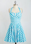 Traveling Cupcake Truck Dress in Aqua Gingham