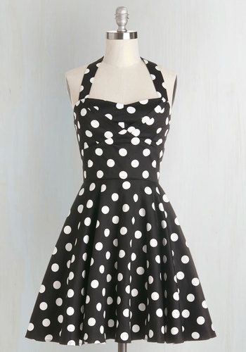 Traveling Cupcake Truck Dress in Black - White, Polka Dots, Casual, 50s, Halter, Fit & Flare, Press Placement, Pinup, Best Seller, Sweetheart, Variation, Valentine's, Full-Size Run, Print, Short, As You Wish Sale, Black, Daytime Party, Vintage Inspired, Mini, Top Rated