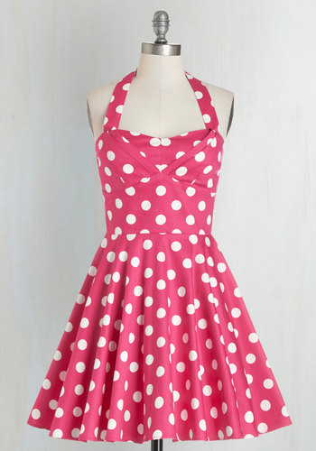 Traveling Cupcake Truck Dress in Pink - Pink, White, Polka Dots, 50s, Halter, Pinup, Best Seller, Fit & Flare, Sweetheart, Variation, Valentine's, Daytime Party, Full-Size Run, Print, Casual, Short, As You Wish Sale, Vintage Inspired, Mini, Top Rated