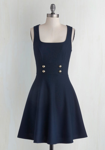 Delightfully Charming Dress in Navy - Mid-length, Knit, Blue, Solid, Buttons, Casual, A-line, Tank top (2 thick straps), Good, Scholastic/Collegiate, Military, Top Rated