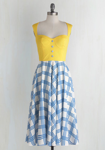 Pretty, Pretty Picnic Dress - Buttons, Casual, A-line, Twofer, Sleeveless, Better, International Designer, Sweetheart, Woven, Cutout, Nautical, Spring, Sundress, Multi, Long