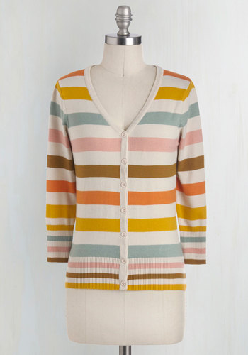 Charter School Cardigan in Froyo - Multi, Blue, Pink, Brown, White, Stripes, Buttons, Work, Casual, 3/4 Sleeve, 70s, Basic, Best Seller, Fall, Knit, Mid-length, Multi, 3/4 Sleeve, Spring, Pastel, Festival, Boho, Daytime Party, As You Wish Sale, Top Rated, Colorsplash
