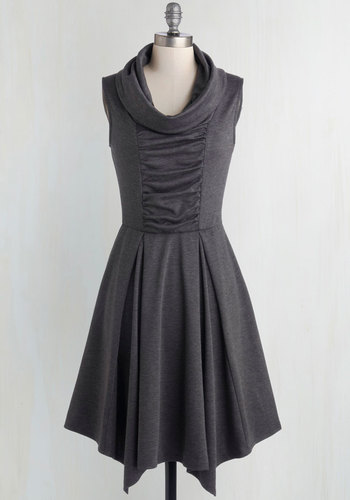 Storytelling Showstopper Dress in Charcoal - Knit, Grey, Solid, Ruching, Casual, Sleeveless, Good, Cowl, Exclusives, Full-Size Run, Mid-length, Pockets, Work, Steampunk, Best Seller, Fit & Flare, Gals, Scholastic/Collegiate, Top Rated