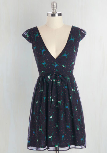 Saturday Safari Dress - Blue, Green, Polka Dots, Print with Animals, Casual, Critters, A-line, Cap Sleeves, Woven, Good, V Neck, Short, Quirky, Full-Size Run