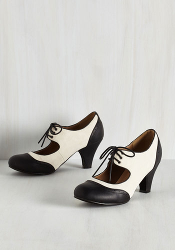 Its a Sure Fete Heel in Ivory and Noir $44.99 AT vintagedancer.com