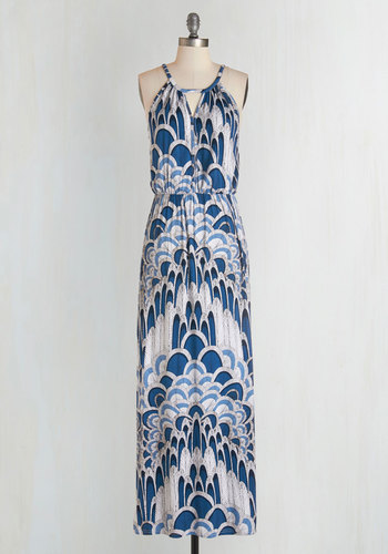 Ink Positively Dress in Feathers - Multi, Print, Cutout, Casual, Beach/Resort, Maxi, Sleeveless, Knit, Good, Long, Jersey, Blue, Variation, Exclusives