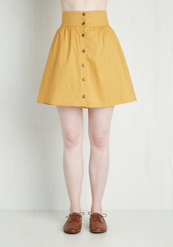 Curry Your Enthusiasm Skirt in Marigold - Yellow, Solid, Buttons, Short, Pockets, Spring, A-line, Best Seller, Summer, Fall, 80s, Casual, 4th of July Sale, Top Rated, Variation, High Rise