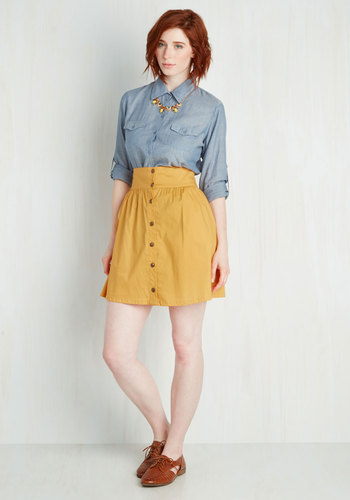 Curry Your Enthusiasm Skirt in Marigold - Yellow, Solid, Buttons, Short, Pockets, A-line, Best Seller, Casual, 4th of July Sale, Top Rated, Variation, High Rise, Colorsplash, Vintage Inspired, 70s, Best Seller, Mini, Spring, Summer, Fall, Winter, High Waist