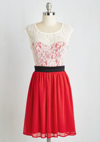 Shortcake Story Dress in Red - Red, Black, White, Lace, Party, A-line, Cap Sleeves, Good, Sheer, Woven, Scoop, Valentine's, Homecoming, Mid-length, Prom, Daytime Party