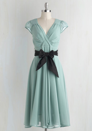 Have the Dance Floor Dress in Mint - Pastel, Mint, Black, Solid, Belted, Party, Daytime Party, Cap Sleeves, V Neck, Fairytale, 50s, Wedding, Bridesmaid, Full-Size Run, Long, Variation, Spring, Fit & Flare
