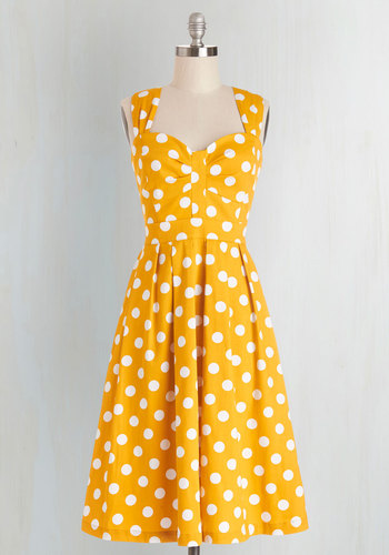 And Many More Dress by Myrtlewood - Yellow, White, Polka Dots, Casual, Sweetheart, Exclusives, Private Label, Sundress, Fit & Flare, Sleeveless, Pinup, 50s, Nautical, Spring, Long