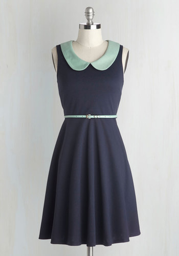 Work to Play Dress in Navy - Knit, Blue, Mint, Peter Pan Collar, Belted, Casual, A-line, Sleeveless, Better, Collared, Solid, Work, Vintage Inspired, 60s, Exclusives, Full-Size Run, Press Placement, Nautical, Mid-length, Top Rated