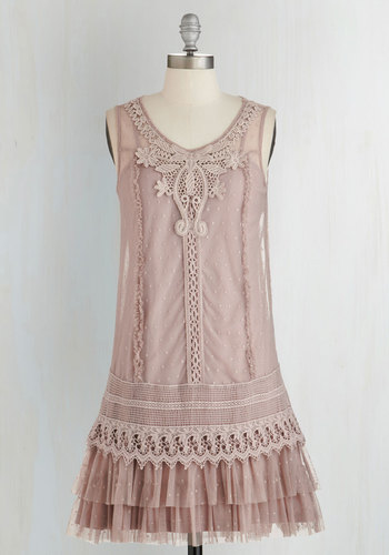 Genuinely Genteel Dress by Ryu - Pink, Crochet, Lace, Tiered, Tent / Trapeze, Sleeveless, Woven, Better, Scoop, Tulle, Vintage Inspired, 20s, Daytime Party, Sheer, Mid-length, Solid, Boho, Party, Pastel, French / Victorian