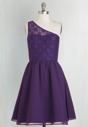 Plum Kind of Wonderful Dress - Mid-length, Knit, Woven, Lace, Purple, Solid, Lace, Special Occasion, Prom, Wedding, Party, Bridesmaid, Valentine's, Homecoming, Fit & Flare, One Shoulder, Exclusives, Private Label