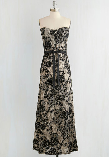 Operatic Occasion Dress - Tan / Cream, Black, Floral, Belted, Special Occasion, Maxi, Strapless, Sweetheart, Woven, Wedding, Bridesmaid, Lace, Long, Prom, Homecoming, Full-Size Run