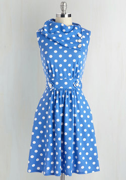 Coach Tour Dress in Blue Dots