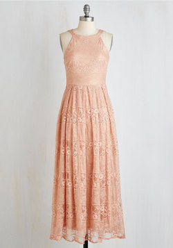 With Style and Lace Dress in Peach