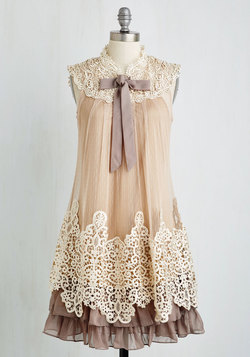 Expression of Elegance Dress in Taupe