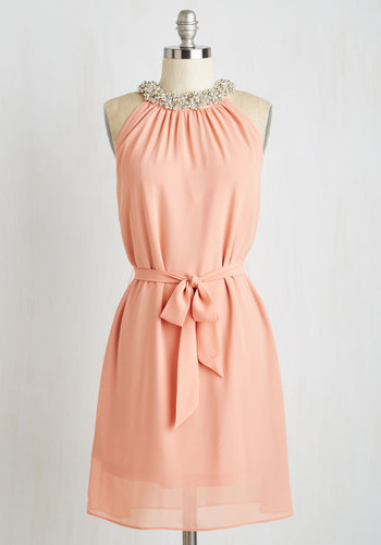 Shimmy and Shine Dress - Chiffon, Woven, Mid-length, Pink, Solid, Beads, Belted, Party, Shift, Sleeveless, Better, Pastel