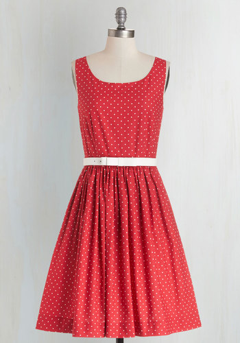 Love is in the Flair Dress by Bea & Dot - Cotton, Woven, Red, White, Polka Dots, Belted, Sleeveless, Better, Scoop, Exclusives, Valentine's, Americana, Full-Size Run, Nautical, Rockabilly, Vintage Inspired, 50s, Pockets, Private Label, Mid-length, Daytime Party, Bridesmaid, Fit & Flare