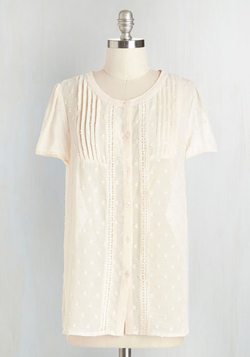 Everyday Elegant Top in Cream - Chiffon, Sheer, Woven, Cream, Solid, Buttons, Embroidery, Pleats, Work, Casual, Daytime Party, Darling, Short Sleeves, Scoop, White, Short Sleeve, Nifty Nerd
